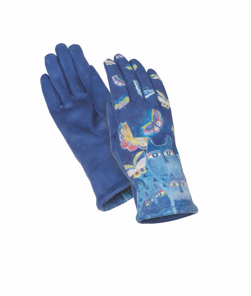 Indigo Cats Suede Glove Gloves Howards - Laurel Burch Studios