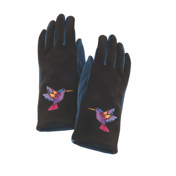 Hummingbird Embroidered Glove Gloves Howards - Laurel Burch Studios