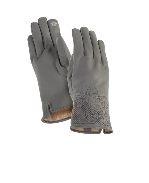 Grey Floral Cuff Gloves Gloves Howards - Laurel Burch Studios