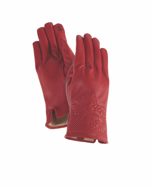 Red Floral Cuff Gloves Gloves Howards - Laurel Burch Studios