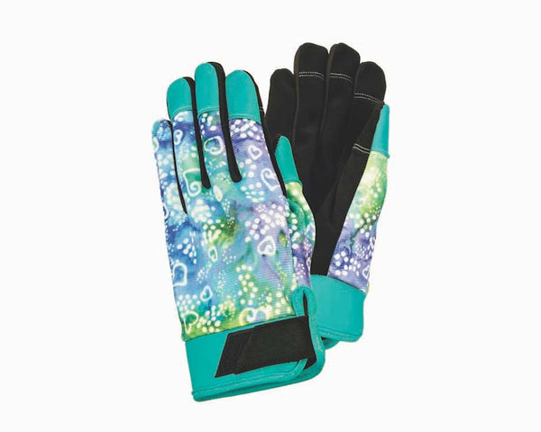 Blue/ Green Batik Work Gloves