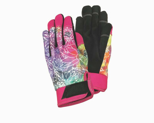 Batik Floral Work Gloves - Rainbow/Black