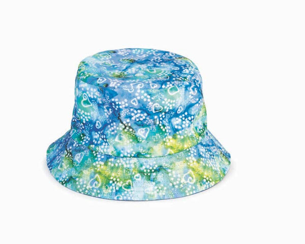 Batik Hearts Reversible Bucket Hat - Blue/Green