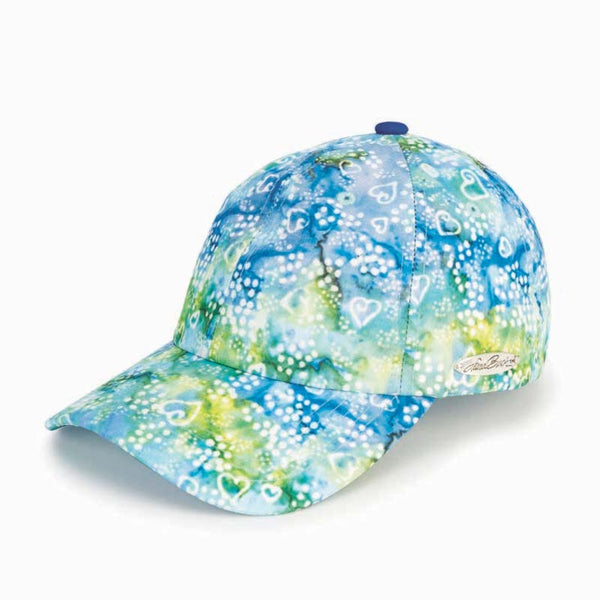 Batik Hearts Patterned Cap - Blue/Green