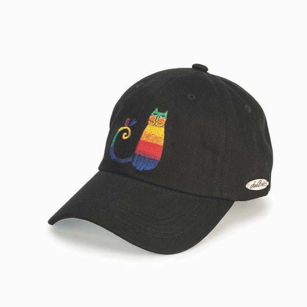 Embroidered Rainbow Cat Cap - Black