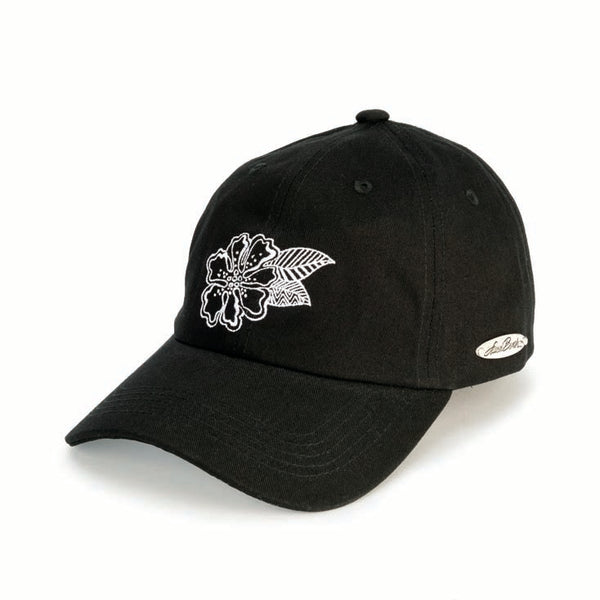 Flower Black Embroidered Cap