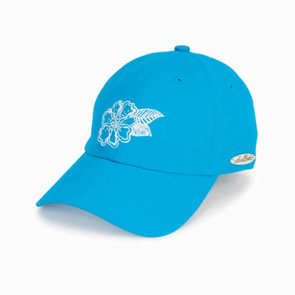 Embroidered Flower Cap - Blue