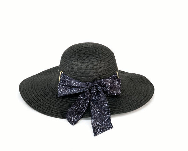 Black & White Floral Black Sun Hat