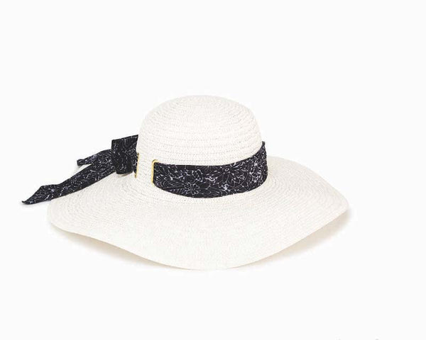 Banded White Sun Hat - Black/White Floral