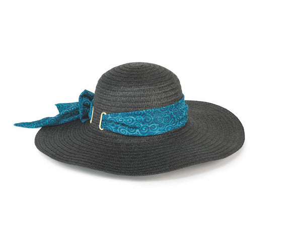 Banded Black Sun Hat - Teal Swirls