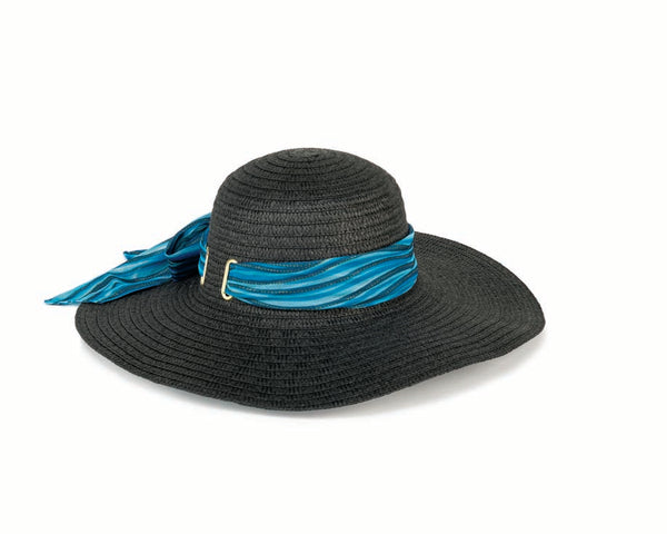 Ocean Waves Black Sun Hat