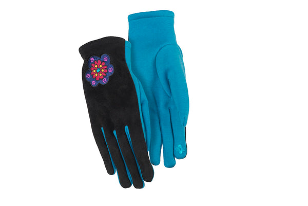 Blue Flower Suede Gloves