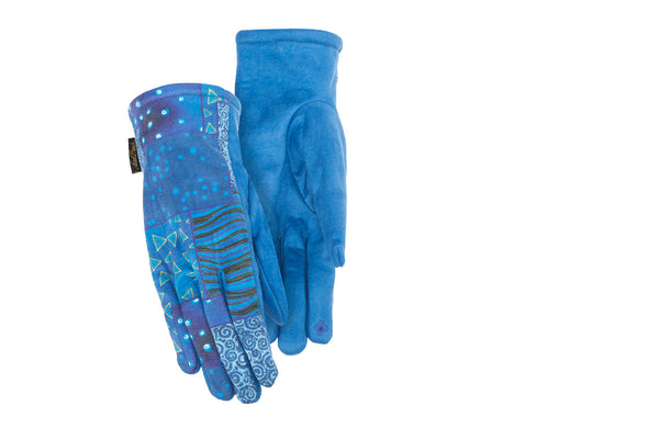 Blue Patchwork Suede Gloves