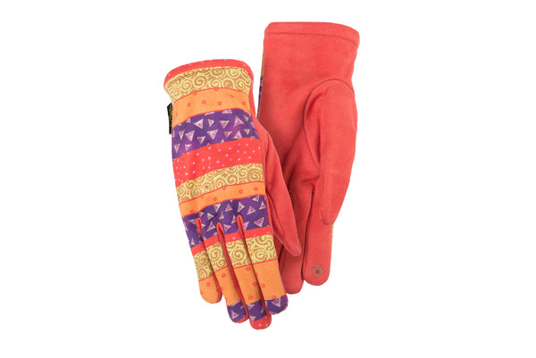 Red Patchwork Stripe Suede Gloves
