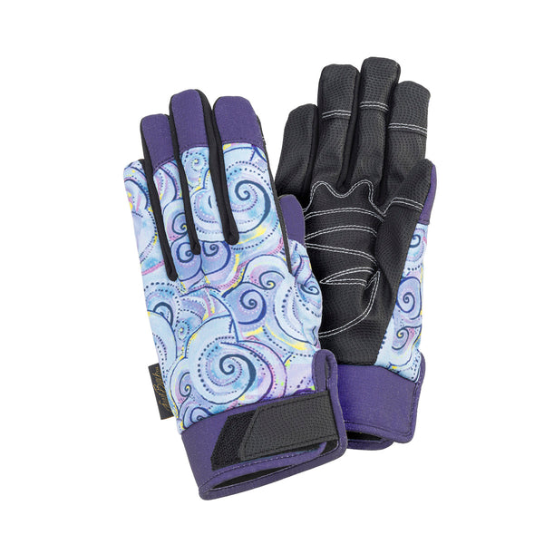 Swirls Work Gloves - Lavender/Black