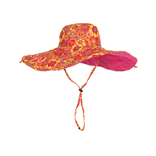 Floral Reversible Sun Hat - Red