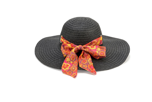 Banded Black Sun Hat - Red Floral