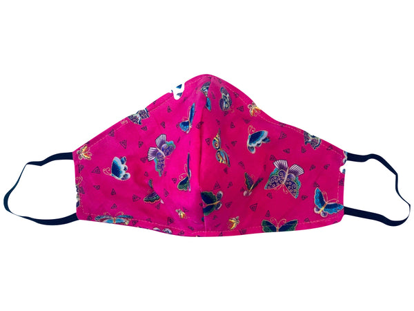 Flutterbye Reversible Cotton Face Mask - Fuchsia