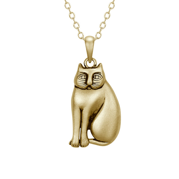 Mystic Cat Necklace -14K Gold-Plated Sterling Silver