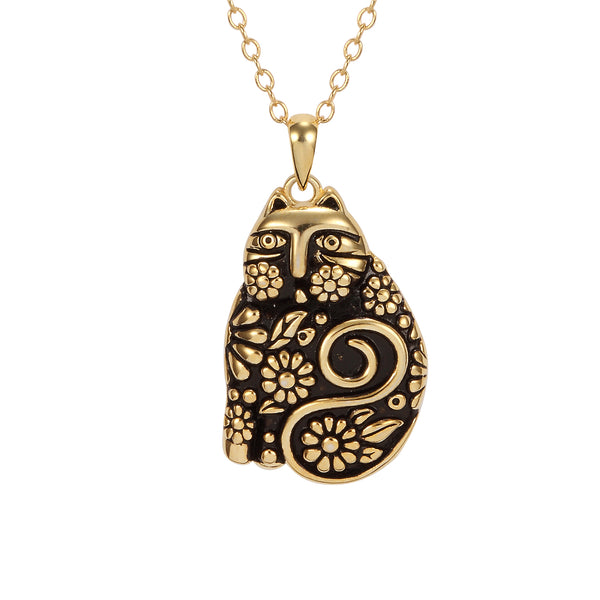 Flowering Feline Necklace - 14K Gold-Plated Sterling Silver