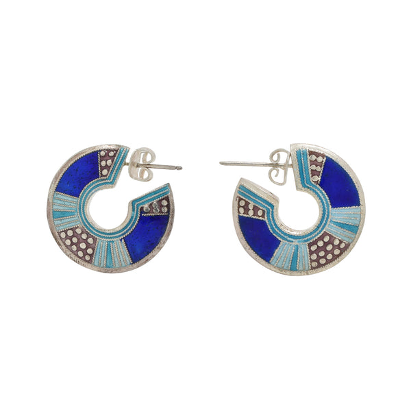 Pie Disk Cobalt Vintage Earrings Vintage Earrings Laurel Burch Jewelry - Laurel Burch Studios