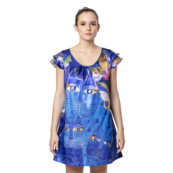 Indigo Cats Flutter Sleeve Nightgown