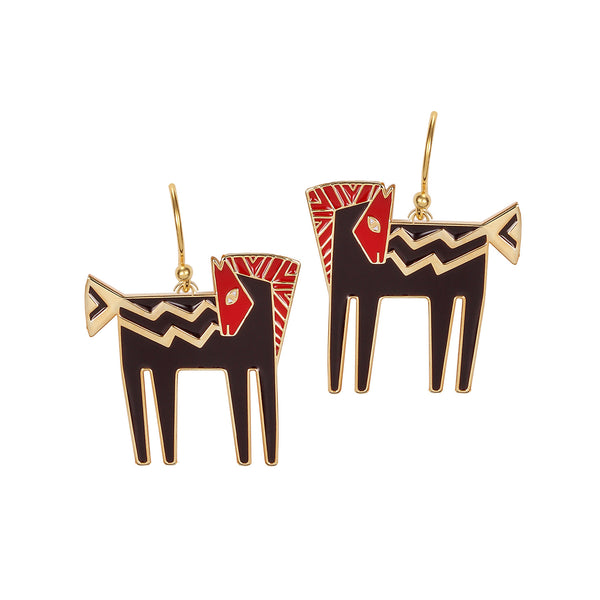 Temple Horse Earrings - Red/Black Jewelry Laurel Burch Jewelry - Laurel Burch Studios