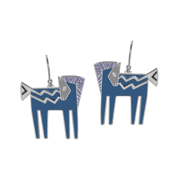 Temple Horse Earrings - Teal/Purple Jewelry Laurel Burch Jewelry - Laurel Burch Studios