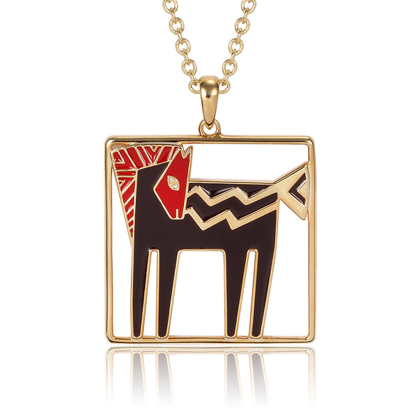 Temple Horse Necklace - Red/Black Jewelry Laurel Burch Jewelry - Laurel Burch Studios