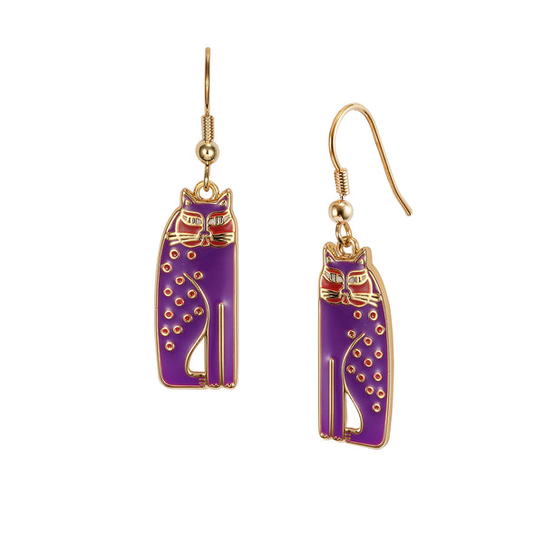 Siamese Cat Earrings - Purple