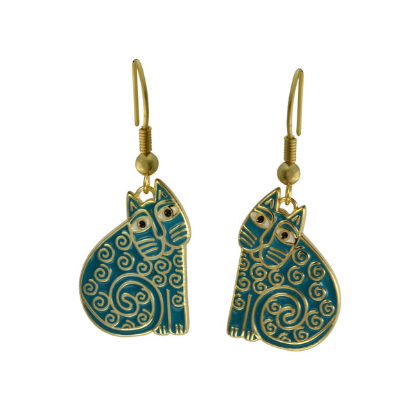 Jubilee Cat Earrings Teal Jewelry Laurel Burch Jewelry - Laurel Burch Studios