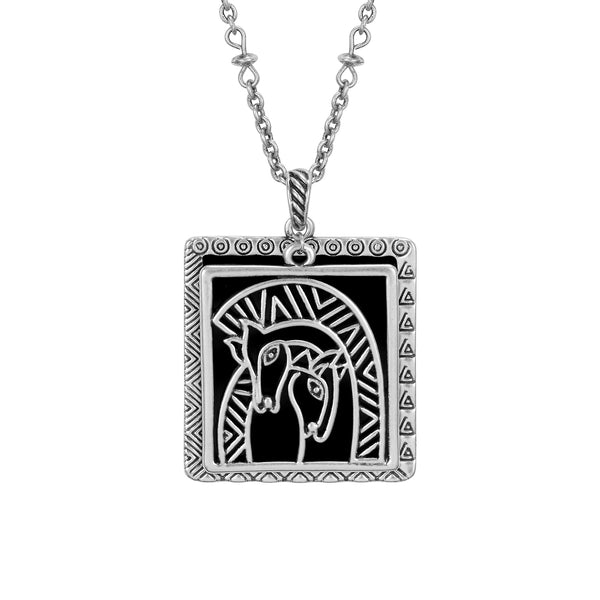 Embracing Horses Necklace Black Jewelry Laurel Burch Jewelry - Laurel Burch Studios