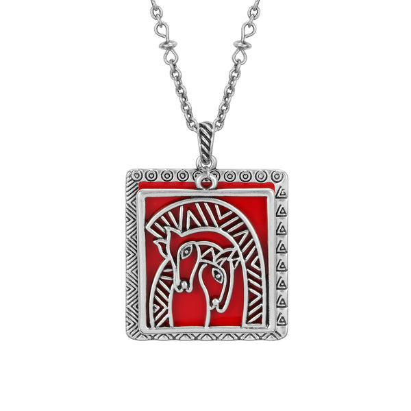 Embracing Horses Necklace Red Jewelry Laurel Burch Jewelry - Laurel Burch Studios