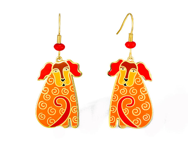 Dog Tales Earrings- Red