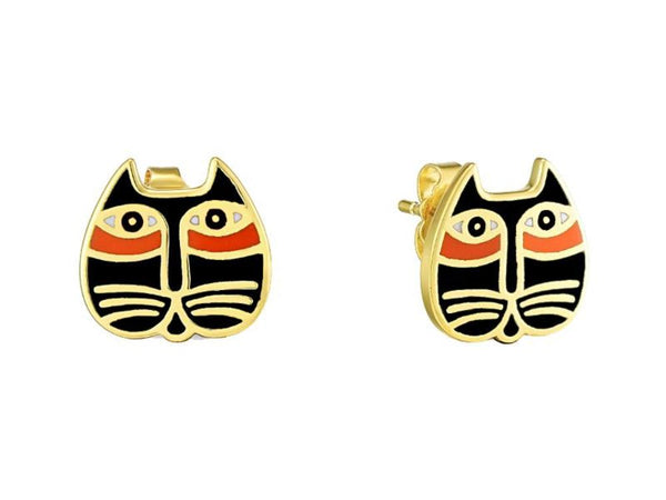 Mystic Cat Face Stud Earrings Black Jewelry Laurel Burch Jewelry - Laurel Burch Studios