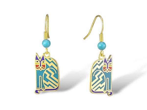 Aztec Cat Earrings Teal Jewelry Laurel Burch Jewelry - Laurel Burch Studios