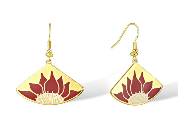 Lotus Earrings - Red/Gold Jewelry Laurel Burch Jewelry - Laurel Burch Studios