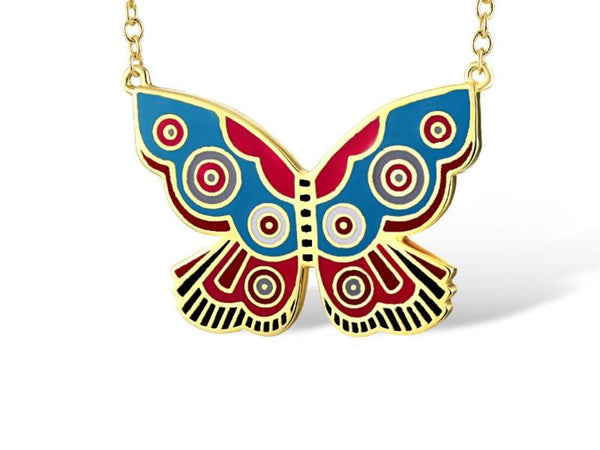 Blue & Red Summer Butterfly Necklace Jewelry Laurel Burch Jewelry - Laurel Burch Studios