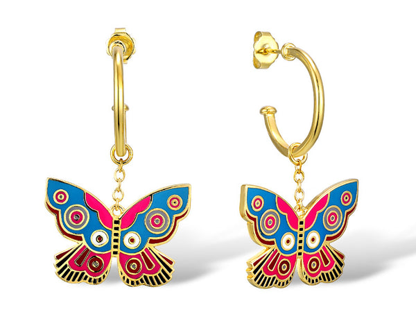 Blue & Red Summer Butterfly Drop Earrings Jewelry Laurel Burch Jewelry - Laurel Burch Studios