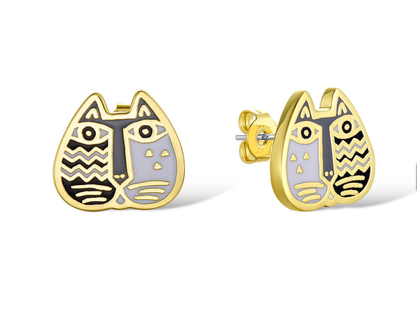 Cat Face Stud Earrings Black and White Jewelry Laurel Burch Jewelry - Laurel Burch Studios