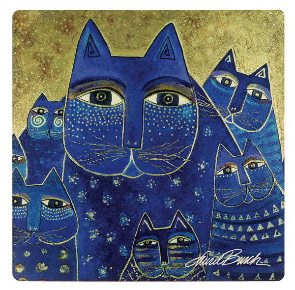Indigo Cat Family Coaster