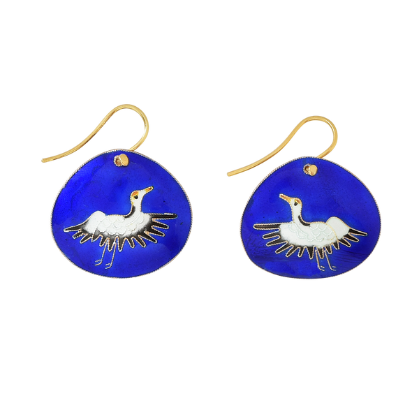 Crane Royal Blue Vintage Earrings Jewelry Laurel Burch Jewelry - Laurel Burch Studios