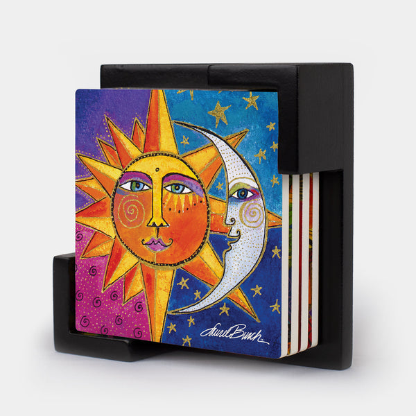 Sister Sun Brother Moon Coasters - Set of 4 with Holder