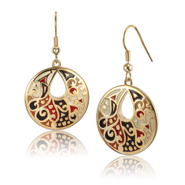 Harmony Earrings Black Cream Red Jewelry Laurel Burch Jewelry - Laurel Burch Studios