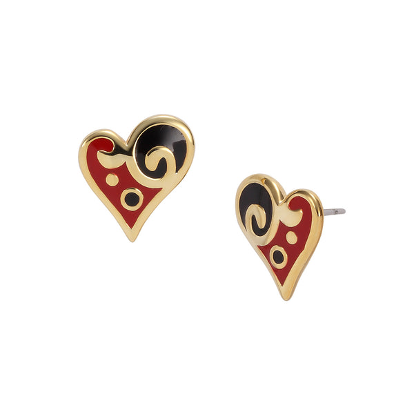 Harmony Heart Stud Black/Red Jewelry Laurel Burch Jewelry - Laurel Burch Studios