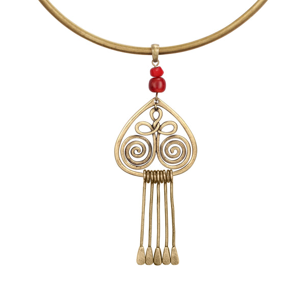Golden Gate Necklace - Gold/Red Beads