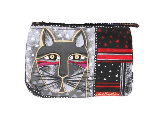 Whiskered Cat Cosmetic Bag- Grey