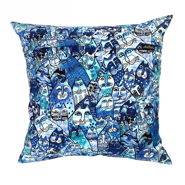 Feline Frolic Pillow Cover - Blue
