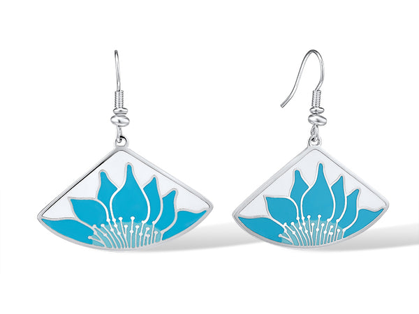 Lotus Earrings - Turquoise/Silver