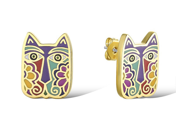 Blossoming Cats Stud Earrings